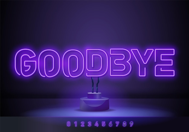 Żegnaj szablon projektu wektor neon tekst. good bye neonowe logo, lekki element projektu banera kolorowy trend w nowoczesnym designie, noc jasna reklama, jasny znak. ilustracja wektorowa