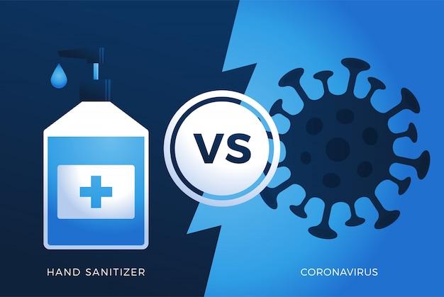 Żel do dezynfekcji rąk antivirus vs lub versus coronavirus koncepcja ochrony covid-19 znak covid-19 zapobieganie projekt tło