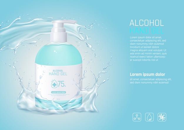 Żel myjący do mycia rąk z alkoholem i odrobiną wody