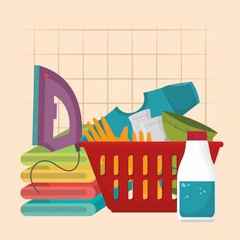 Żelazko z ikonami usług pralniczych