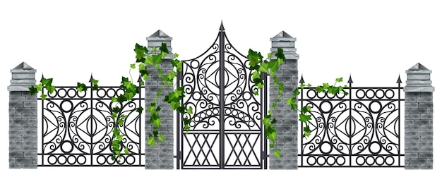 Żelazna brama z kutego metalu stary wektor ilustracja ogrodzenia kamienna kolumna bluszcz liść roślina pnąca