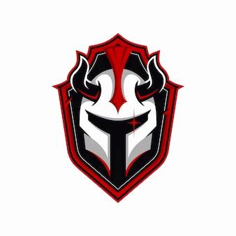 Żelazny hełm z logo maskotki rogi
