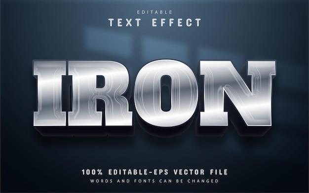 Żelazny tekst, edytowalny efekt tekstowy w stylu srebrnym