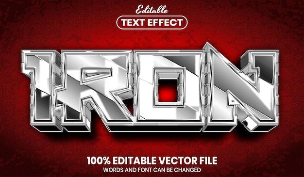Żelazny tekst, edytowalny efekt tekstu w stylu czcionki font