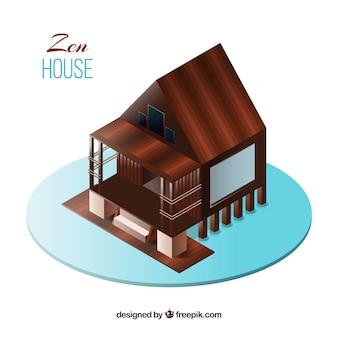 Zen drewnianym tle domu