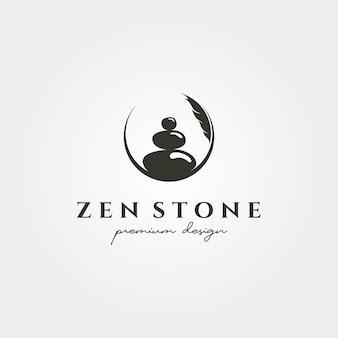 Zen kamień sylwetka logo wektor symbol ilustracja projekt, kreatywne logo koło stosu kamienia