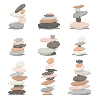 Zen kamienie kreskówka zestaw na białym tle na białym tle