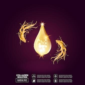 Żeń-szeń kolagen lub olej kropla tło dla koncepcji kosmetycznej skincare