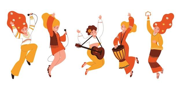 Żeńska grupa muzyczna na białym tle. hipis. ilustracja wektorowa w stylu płaski.
