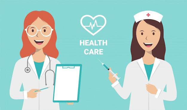 Żeńska pielęgniarka i lekarka na błękitnym tle