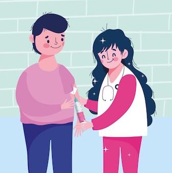 Żeńska pielęgniarka z pacjentem i strzykawką medyczną opieki zdrowotnej szczepienia ilustracją