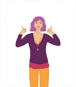 Żeńska postać aprobuje, robi pozytywnemu gestowi z ręką. kobieta uśmiecha się szeroko, wygląda na szczęśliwą i pozytywną, pewną siebie i odnoszącą sukcesy, z kciukami do góry. gest zwycięzcy.