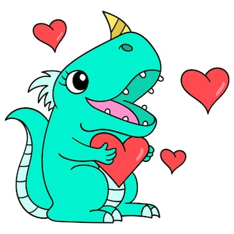 Żeński dinozaur jest zakochany w chwili walentynki, doodle rysuj kawaii. ilustracja