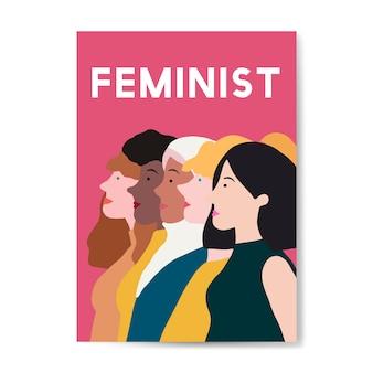 Żeński feministka stoi wpólnie wektor