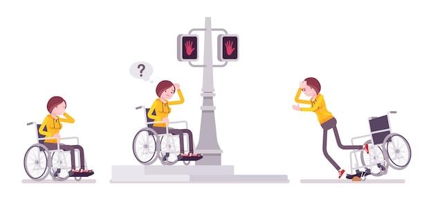 Żeński młody użytkownik wózka inwalidzkiego w negatywnych ulicznych emocjach