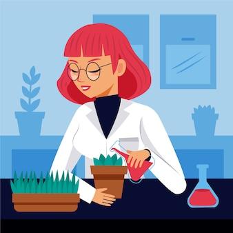 Żeński naukowiec z rośliną