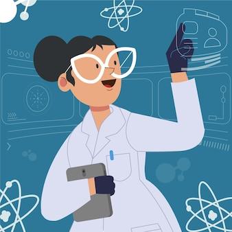 Żeński naukowiec z szkłami w laboratorium