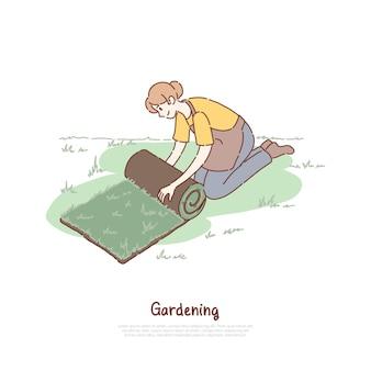 Żeński ogrodnik w fartuchu
