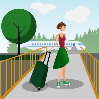 Żeński turysta z walizką w wyjściowym holu.