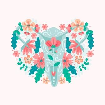 Żeński układ rozrodczy z kwiatami