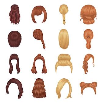 Żeńskie fryzury kreskówki elementy w ustalonej kolekci dla projekta.