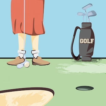 Żeńskie golfistów nogi na polu golfowym
