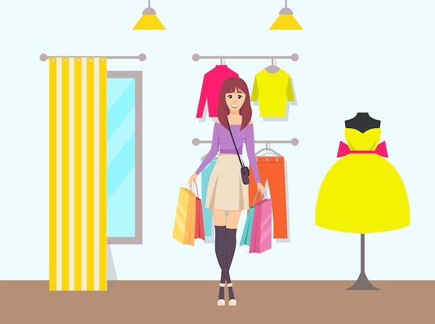 Żeńskie torby shopaholic chodzi od sklepu wektoru