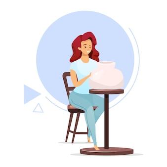 Żeńskiego ceramicznego producenta koloru wektoru płaska ilustracja. kobieta robi glinianemu naczyniu na ceramicznym kole. produkcja gliny. mały biznes. produkcja ceramiki. postać z kreskówki na białym tle na biały