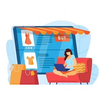 Żeńskiego charakteru zakupy dom, internet sieci kupienia online usługa odizolowywająca na bielu, kreskówki ilustracja. kobieta korzysta z nowoczesnego komputera.