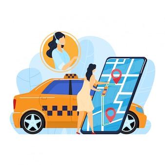 Żeńskiego rozkazu online taxi, malutki kobieta charakter używa internet app mobilnej usługa odizolowywającą na bielu, kreskówki ilustracja.