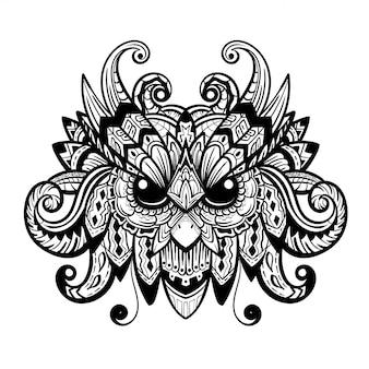 Zentangle głowa sowy.