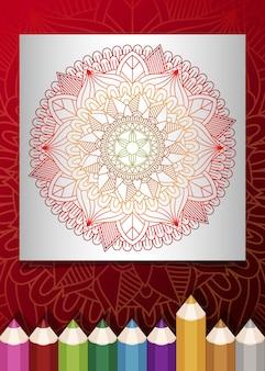 Zentangle mandala dla dorosłych relaksujący kolorowanka kolor tonu czerwone tło.
