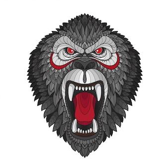 Zentangle stylizowana głowa goryla