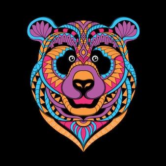 Zentangle stylizowane wektor głowy panda
