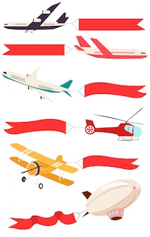 Zeppeliny i samoloty z pustymi transparentami na komunikaty reklamowe.