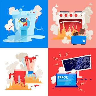 Zepsute urządzenia gospodarstwa domowego gadżety płaskie ilustracja zestaw z zepsutą pralką toster pc czajnik i piekarnik