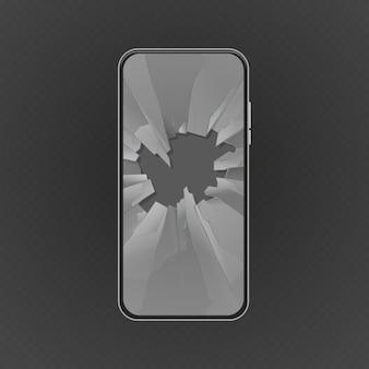 Zepsuty ekran. rozbity smartfon, szklany otwór