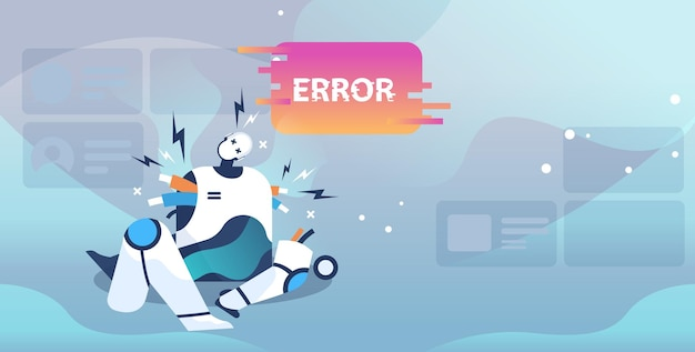 Zepsuty robot pokazujący błąd. awarie sztucznej inteligencji
