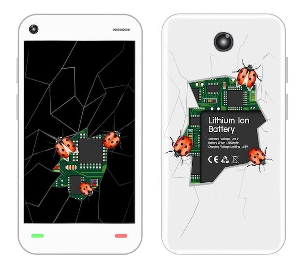 Zepsuty smartfon z błędami