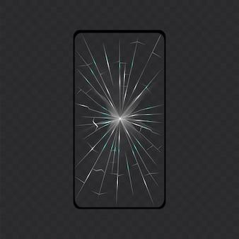 Zepsuty smartfon z ekranem. ekran izolowany.