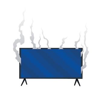 Zepsuty sprzęt agd. uszkodzony monitor. domowa ikona na białym tle. płonąca elektronika. sprzęt gospodarstwa domowego lub spalony elektryczny sprzęt gospodarstwa domowego w ogniu.