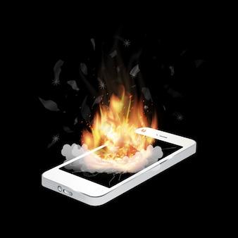 Zepsuty wybuch smartphone z płonącym ogniem