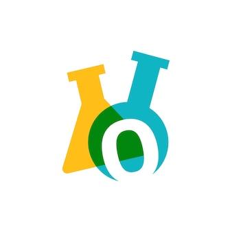 Zero 0 numer laboratorium szkło laboratoryjne zlewki logo wektor ikona ilustracja