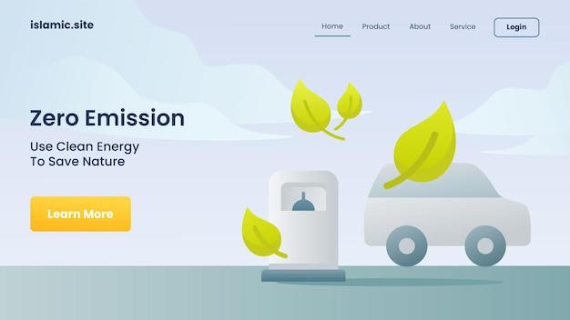 Zero emisji wykorzystuje czystą energię, aby oszczędzać przyrodę dla szablonu strony internetowej do lądowania na stronie głównej płaskiej izolowanej tła ilustracji wektorowych projektu