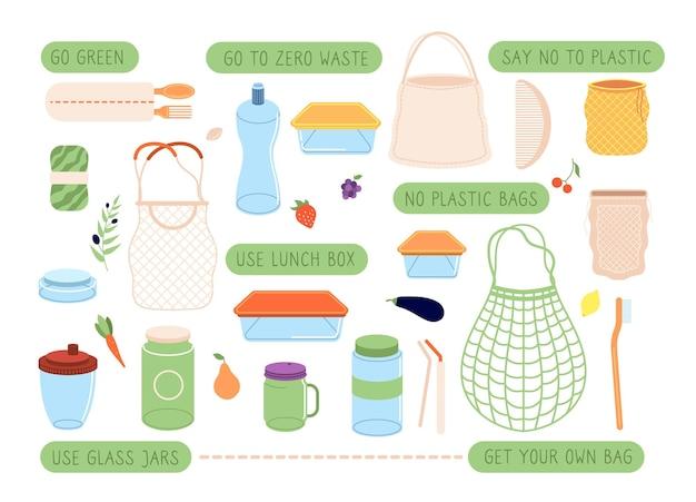 Zero marnowania. eko stylowe naklejki, torby i opakowanie wielokrotnego użytku. ekologiczne sztućce, szczotka do włosów i trwałe towary. ekologiczny zestaw. ilustracja eco zero pack i szczoteczka do zębów, torba i butelka