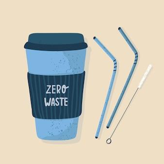 Zero marnowania. kubek termiczny lub kubki wielokrotnego użytku z pokrywką do gorącej kawy lub herbaty na wynos z metalowymi słomkami i szczoteczką do czyszczenia. ręcznie rysowane styl, płaska konstrukcja. ilustracja. światowy dzień ziemi