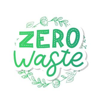 Zero marnowania. literowanie tekstu eco zielona ilustracja. zero marnowania
