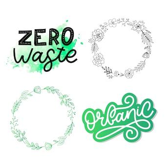 Zero marnowania. tekst literowy eco zielony. zero marnowania . zero odpadów, przyjazny dla środowiska. ilustracja odpadów organicznych. zestaw ekologii