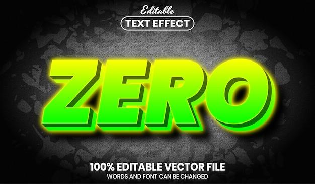 Zero neonowego tekstu, edytowalny efekt tekstowy w stylu czcionki
