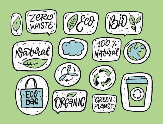 Zero odpadów i ekologiczne fraza i doodle ilustracja naklejki